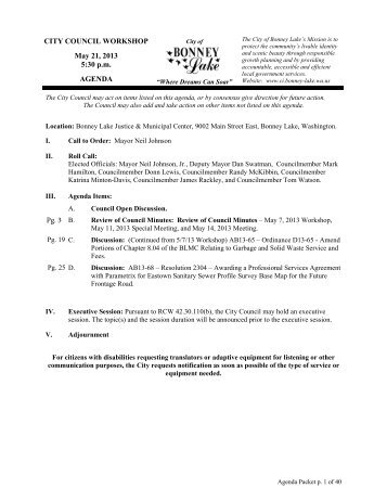 CITY COUNCIL WORKSHOP May 21, 2013 5:30 p.m. AGENDA Pg. 3