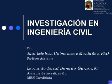 INVESTIGACIÓN EN INGENIERÍA CIVIL