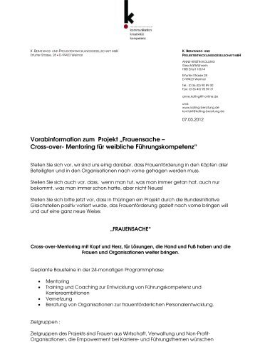 "Vorabinformation zum Projekt ""Frauensache – Cross-over ..."