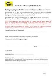 Bestätigung Mitgliedschaft bei einem dem OKV angeschlossenen ...