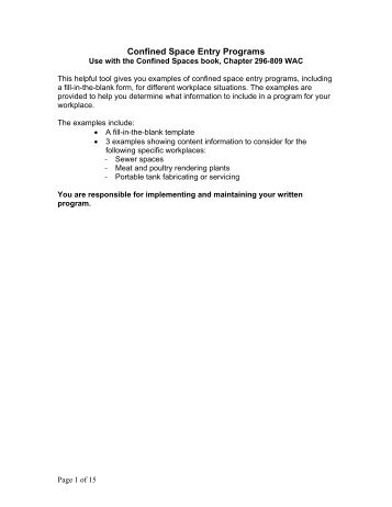 TITLE: Confined Space Entry Procedure Revision 2 7/26/2005 ...