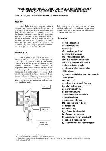projeto e construção de um sistema eletromecânico para ... - Fatec