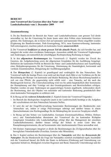 BERICHT zum Vorentwurf des Gesetzes über den Natur- und ...