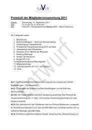 Protokoll der Mitgliederversammlung 2011 - SAVIR