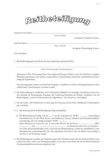 Vertrag Reitbeteiligung - Reiterhof Fissau