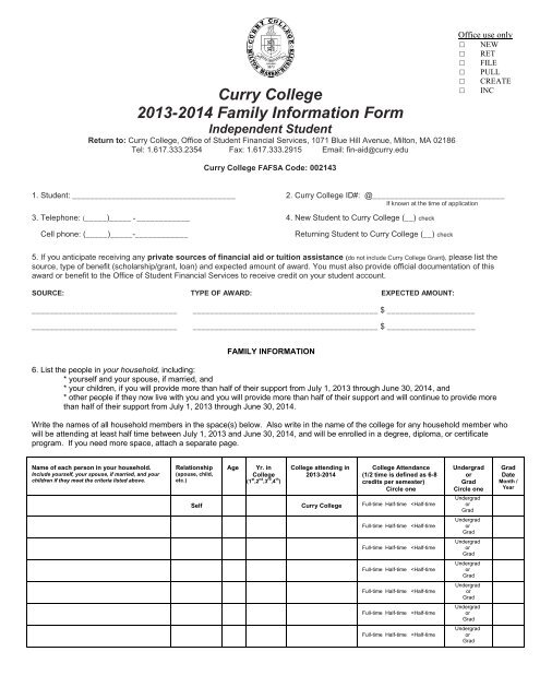 Curry College 2013 2014 Family Information Form