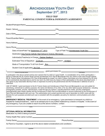 Youth Permission and Travel Form Parish name Youth\'s Name