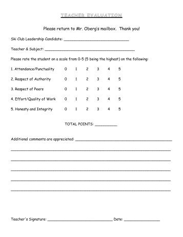 Online Teacher Evaluation Form Modified From