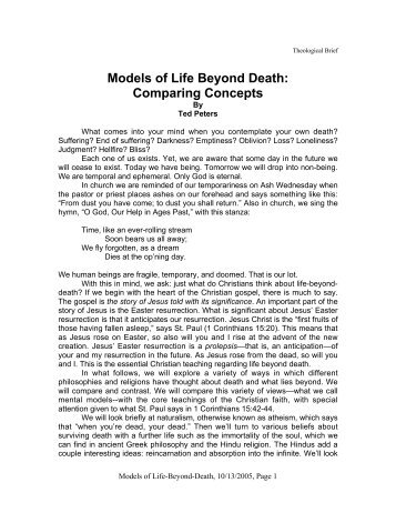 "Ted Peters, ""Models of Life Beyond Death: Comparing Concepts"""