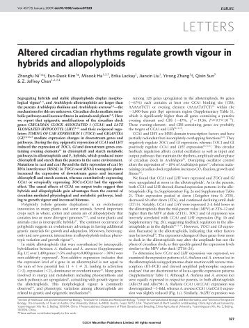 Altered circadian rhythms regulate growth vigour in hybrids and ...