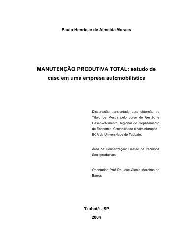 MANUTENÇÃO PRODUTIVA TOTAL: estudo de caso ... - Ppga.com.br