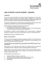 Racist Incidents Guidance Notes - Unison City of Sunderland