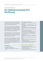 Der Maßnahmenkatalog 2011 Kurzfassung
