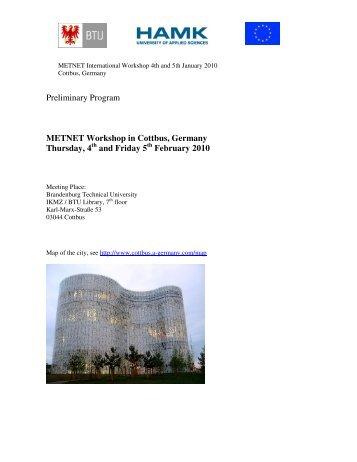 Preliminary Program METNET Workshop in Cottbus, Germany ...