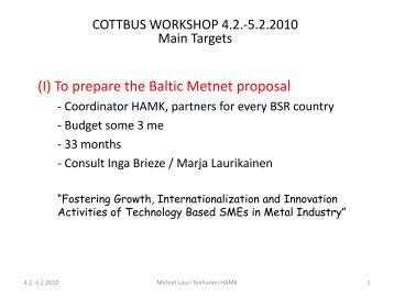 Tenhunen, Lauri - Workshop Program and Targets
