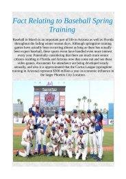Fact Relating to Baseball Spring Training