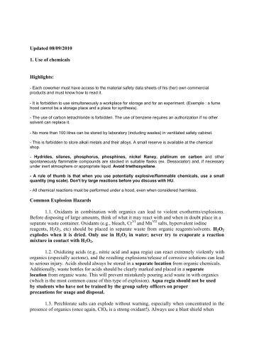 Chemical Safety (LSCI Intern) - Laboratory of Inorganic Synthesis ...