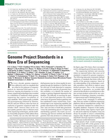Genome Project Standards in a New Era of Sequencing - Index of