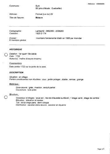 Commune : Buhl 68 (aire d'étude : Guebwiller) Adresse : Florival ...