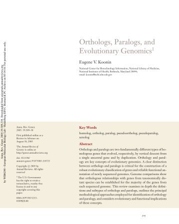 ORTHOLOGS, PARALOGS, AND EVOLUTIONARY GENOMICS1