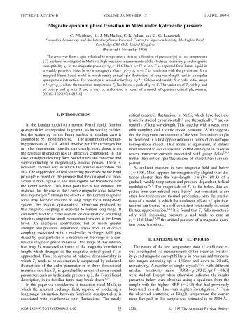 Pfleiderer et al 1997 - Physics