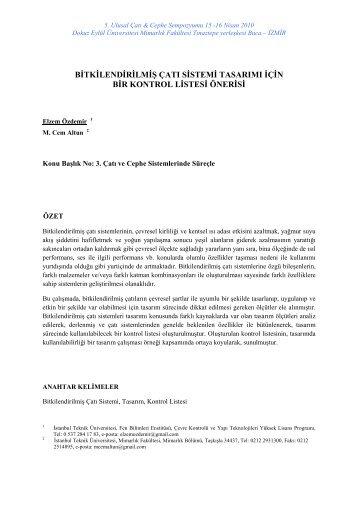 Bitkilendirilmiş Çatı Sistemi Tasarımı için bir Kontrol Listesi Önerisi