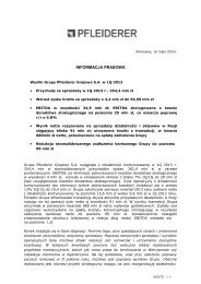 Wyniki finansowe 1Q2013 - Pfleiderer