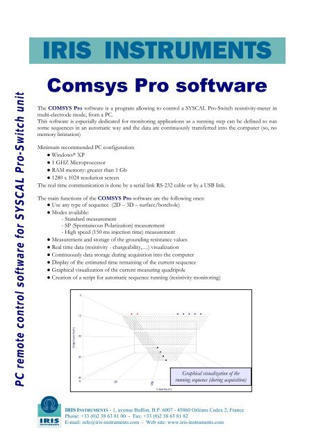 PC remote control software for SYSCAL Pro     - IRIS Instruments
