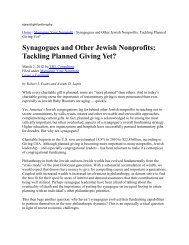 Synagogues and Other Jewish Nonprofits: Tackling Planned Giving ...