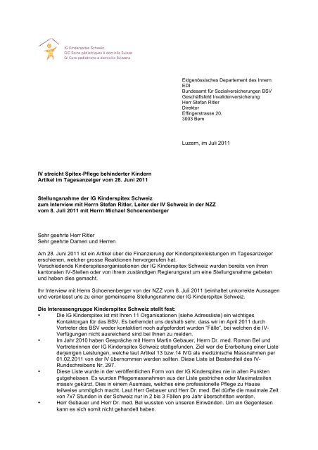 Brief An Das Bsv Mit Stellungnahme Der Ig Kinderspitex Schweiz