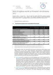 Netia SA ogłasza wyniki za IV kwartał i rok obrotowy 2012