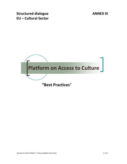 Platform on Access to Culture - European Music Council