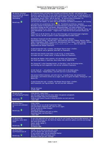 Gästebuch des Kamper Karneval Club 84 .e. V. Zeitraum: 09.09 ...