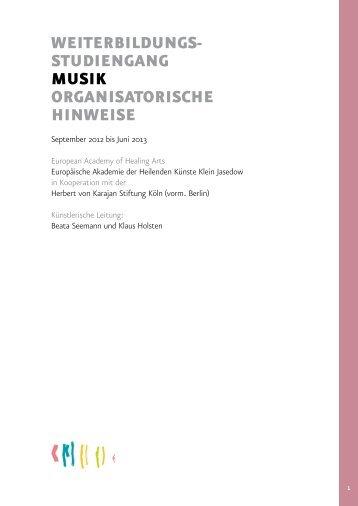 weiterbildungs- studiengang musik organisatorische hinweise