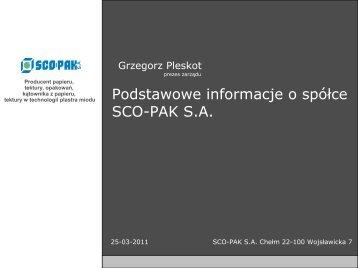 Podstawowe informacje o spółce SCO-PAK S.A. - wseie