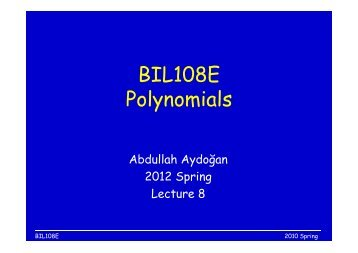 BIL108E Polynomials