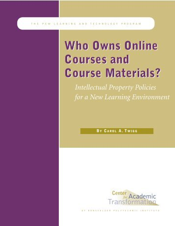 Who Owns Online Courses and Course Materials? - National Center ...