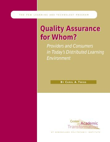 Quality Assurance for Whom? - Centre for Academic Development