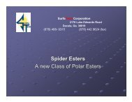 Spider Esters A new Class of Polar Esters - SurfaTech