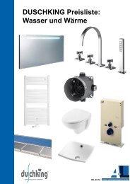 DUSCHKING Preisliste: Wasser und Wärme