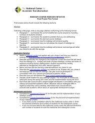 MISSOURI COURSE REDESIGN INITIATIVE Final Project Plan ...