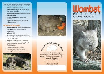 HOW YOU CAN HELP - Wombat Protection Society of Australia