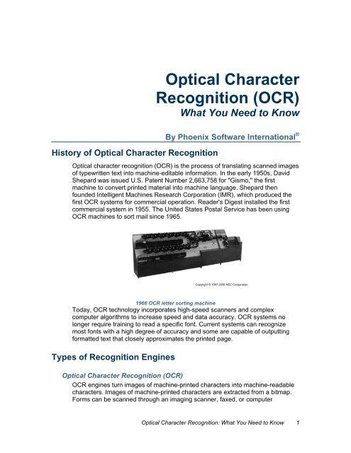 OCR White Paper Outline - Phoenix Software International
