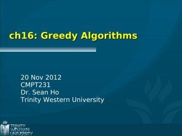 ch16: Greedy Algorithms