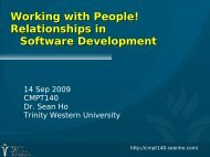 Working with People! Relationships in Software ... - seanho