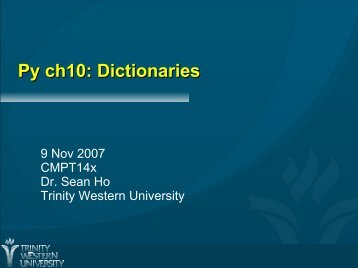 Py ch10: Dictionaries