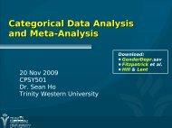 Categorical Data Analysis and Meta-Analysis