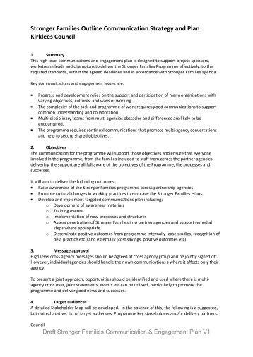 draft communication plan - Voluntary Action Kirklees