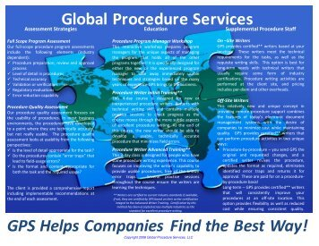 Global Procedure Services GPS Helps Companies Find the Best Way!