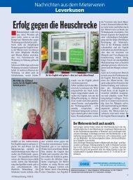 Nachrichten aus dem Mieterverein Leverkusen
